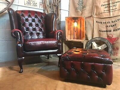 Chesterfield Vintage Wingback Leather Armchair OxBlood + Storage Footstool