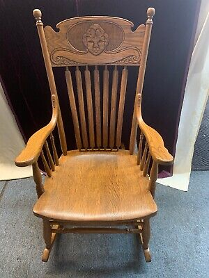 antique oak rocking chair with carved ladies head local pick up