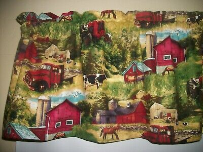 French Country Rooster Chicken farm kitchen Rose fabric curtain topper Valance