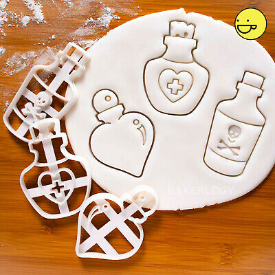 3 Potion Bottle cookie cutters: Love Poison Health | Halloween party witchcraft