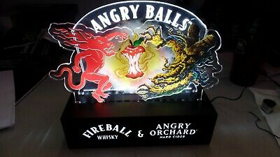 Fireball Whiskey & Angry Orchard Angry Balls Lighted Beer Sign Bar Free Shipping