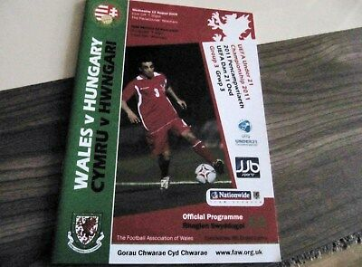 Wales U-21. - v.- Hungary U-21.    At Wrexham   2009-10   ** Aug. 2009 - VGC **.