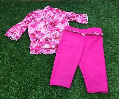 Girls 12-18 Months 2 Piece UV Swimsuit Pink Floral Pattern George