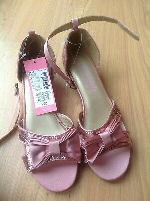 M & S Kids Girls Pink Glittery Sparkly Party Shoes Size 5