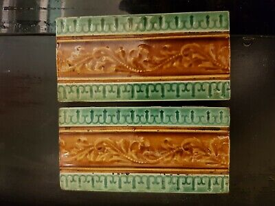 "ANTIQUE 6"" x 3""  ART NOUVEAU  BORDER TILES"