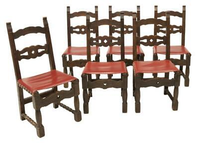 SIX ( 6 ) SPANISH WALNUT UPHOLSTERED DINING CHAIRS, early 1900s