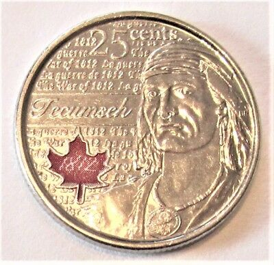 2012 WAR OF 1812 - TECUMSEH COLOURED QUARTER -  combined shipping