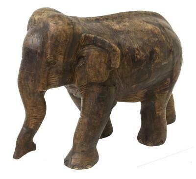 Antique Wood Elephant Figure, Unique Carving, Great for a Man Cave, 23.5 Ins!