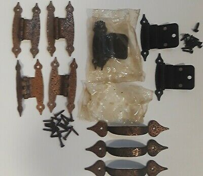 Vintage 4 Copper Hammered Hinges & 3 Copper Drawer Pulls  & 4 Black Hammered