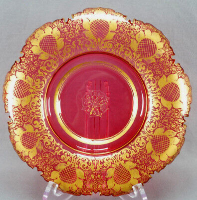 Beautiful Late 19th Century Moser Style Cut & Gold Gilt Cranberry Glass Dish