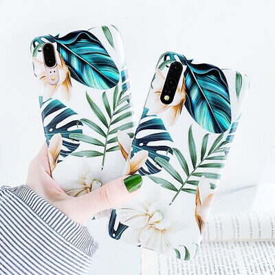 Painted IMD Leaf Flower Soft Silicone Case Cover For Huawei P30 Mate 20 Pro Lite