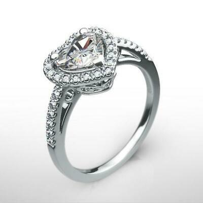 Ornate Halo Diamond Ring 1.58 Ct Si2 18 Kt White Gold Women Solitaire W Accents