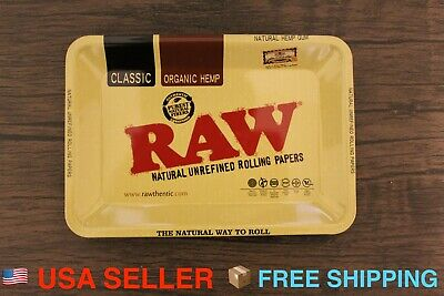 """RAW MINI TRAY Vintage Style Metal Small for Rolling papers 7""""x5"""" Fast Shipping"""