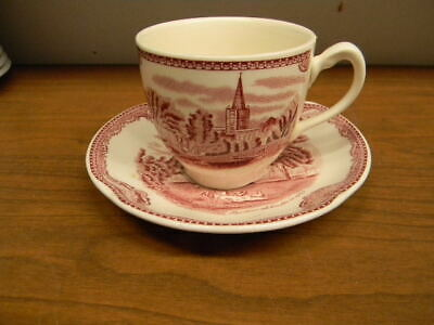 """2 Johnson Bros. China """"Pink Old Britain Castles"""" Cup & Saucers"""