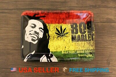 """Bob Marley MINI Metal Rolling Tray Bong RAW Style Cigarette Rolling papers 7""""x5"""""""