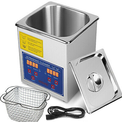 New Stainless Steel 2 Liter Industry Heat Ultrasonic Cleaner Heater w/Timer