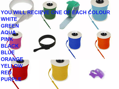 VELCRO CABLE TIES ,ONE WRAP 1 OF EACH COLOUR x 25mm x 300mm  x 10 CABLE TIES