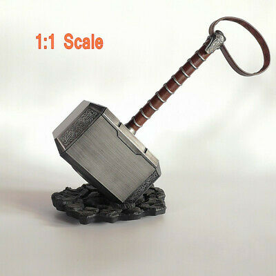 2019 1:1 Scale Marvel Avengers Thor Hammer Weapon Cosplay Props Model+Stand Base