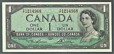 BC-37d Y/F $1.00 1954 Lawson-Bouey Canadian Bank Note Uncirculated.