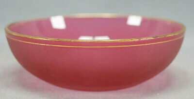 19th Century French Cranberry Cut Sandblasted & Gold Small Glass Bowl