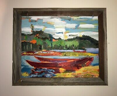 """Bateaux Boats 20""""x16"""" Original Oil Painting Inspired by Tom Thomson Art Framed"""