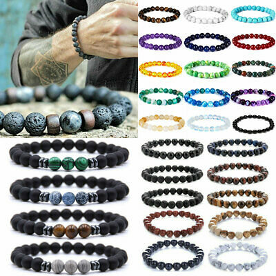 Bulk Stretchy Stone Bracelets Assorted Natural Gemstone 8mm Beads Healing Reiki
