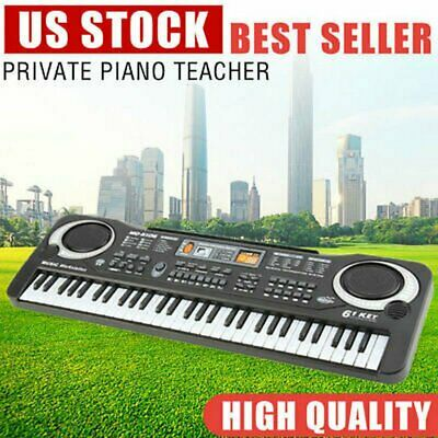 61 Key Digital Music Electronic Keyboard Kids Electric Piano Organ Microphone TN
