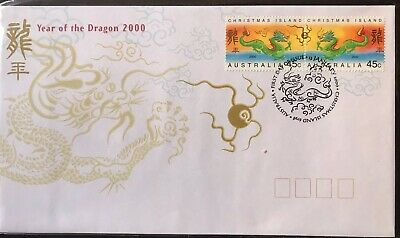 CHRISTMAS ISLAND 2000 YEAR OF THE DRAGON FIRST DAY COVER.       st114