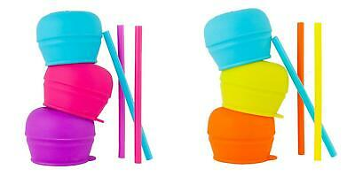 Boon SNUG Stretchy Silicone Straw Lids and Straws - Spill Proof 3 Lids & Straws