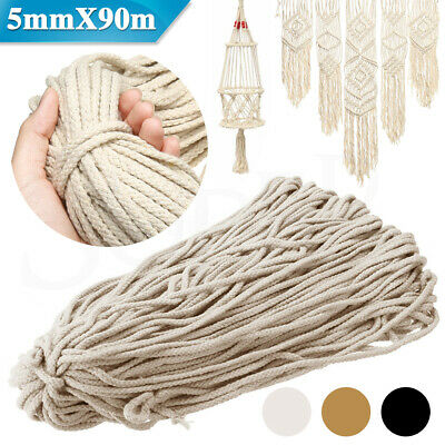 5mm Natural Cotton String Twisted Cord Craft Macrame Artisan Rope Craft 90M