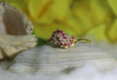 1/2 Ct Round Cut Ruby & Diamond Solid 14k Yellow Gold Cluster Engagement Ring