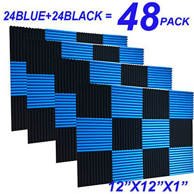 UK 48pcs Blue & Black Studui Soundproofing Acoustic Wedge Foam Tiles Wall Panels
