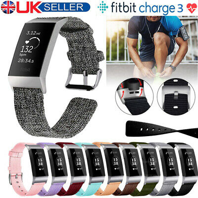 For Fitbit Charge 3 Strap Woven Nylon Watch Band Replacement Fabric Wristband