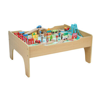 Wooden Toy Train Set Activity Table with 70 Pieces