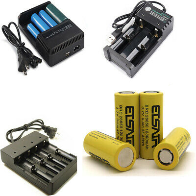 NEW 12800mAh 26650 Rechargeable Battery 3.7V 26650 Batteries With Smart Charger