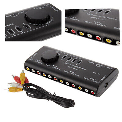 4 in 1 Out Audio Video AV RCA Switch Signal Switcher Splitter Box Selector+Cable