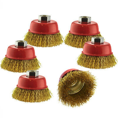 Wire Cup Brush / Wheel For Angle Grinder Crimped Brass Coated 6Pack For Cleaning