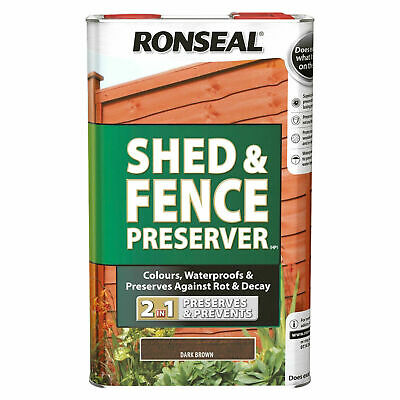 Ronseal Shed & Fence Preserver - Dark Brown - 5L Free P & P