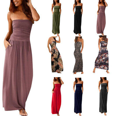 Womens Bandeau Holiday Off Shoulder Long Ladies Summer Solid Maxi Ankle Dresses