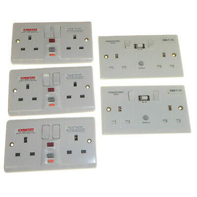 5 x RCD Sockets Double Pole Switched 30mA trip 13 Amp 2 Gang White Various