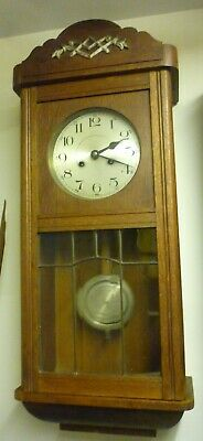 Good Antique Oak Regulator Type 8 Day Striking Wall Clock In Good Working Order