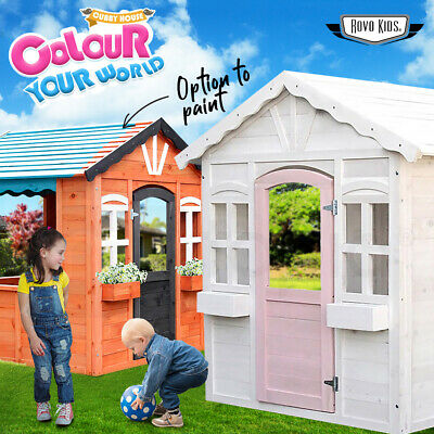 Kids Cubby House Wooden Kit Outdoor Timber Childrens Large Backyard Toddler