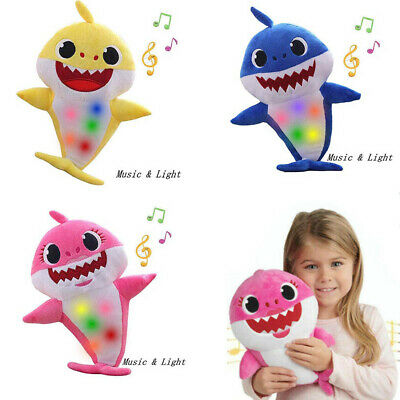 Baby Kids Shark Toy Soft Plush Singing Doll English Song Music Lighting Toy