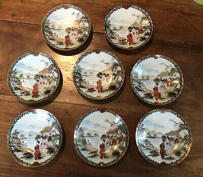 Set of 8 Antique Japanese Satsuma Coffee Cups and Saucers