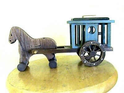 World Bazaars Wooden Horse Drawn Wagon With Rolling Wheels