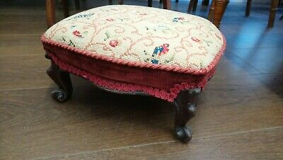 Antique Tapestry Top Footstool With Ornate Shaped Legs, Birds And Flowers