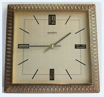Vintage Mid Century Modern Acctim West German Gold Square Wall Clock