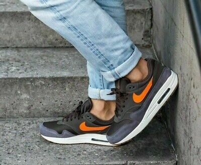 nike air max 1 thunder grey total orange white gum