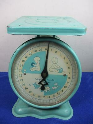 Vintage Turquoise Baby Scale Great Graphics, Decorative, Babies Room Decor (A20)