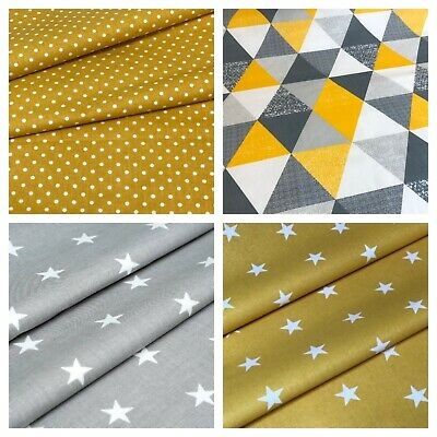 yellow mustard ,grey , stars polka  100% cotton fabric sold by big fat quarter